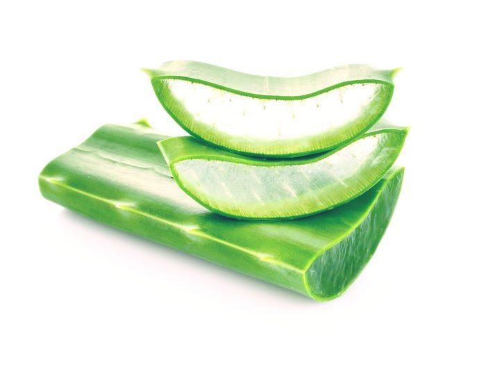 Apply aloe vera gel to blisters
