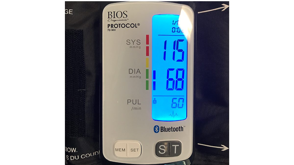 My blood pressure numbers, 115 over 68