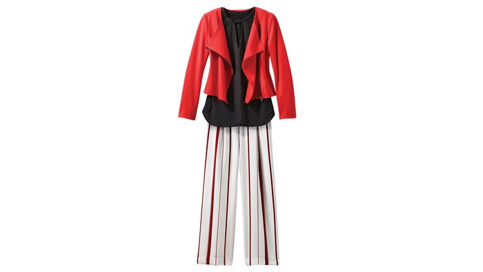 Striped pants for inverted triangle body shapes