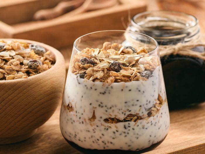 Chia cereal yogurt bowl