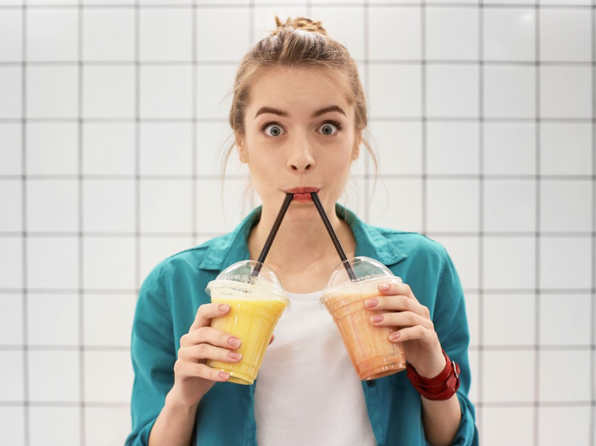 what the health vegan lifestyle, a woman drinking dairy-free smoothies
