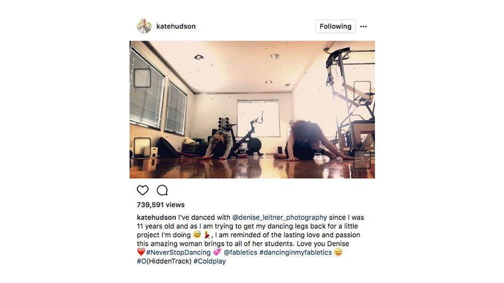 Kate Hudson Fitness Routine, Kate Hudson doing a dance routine