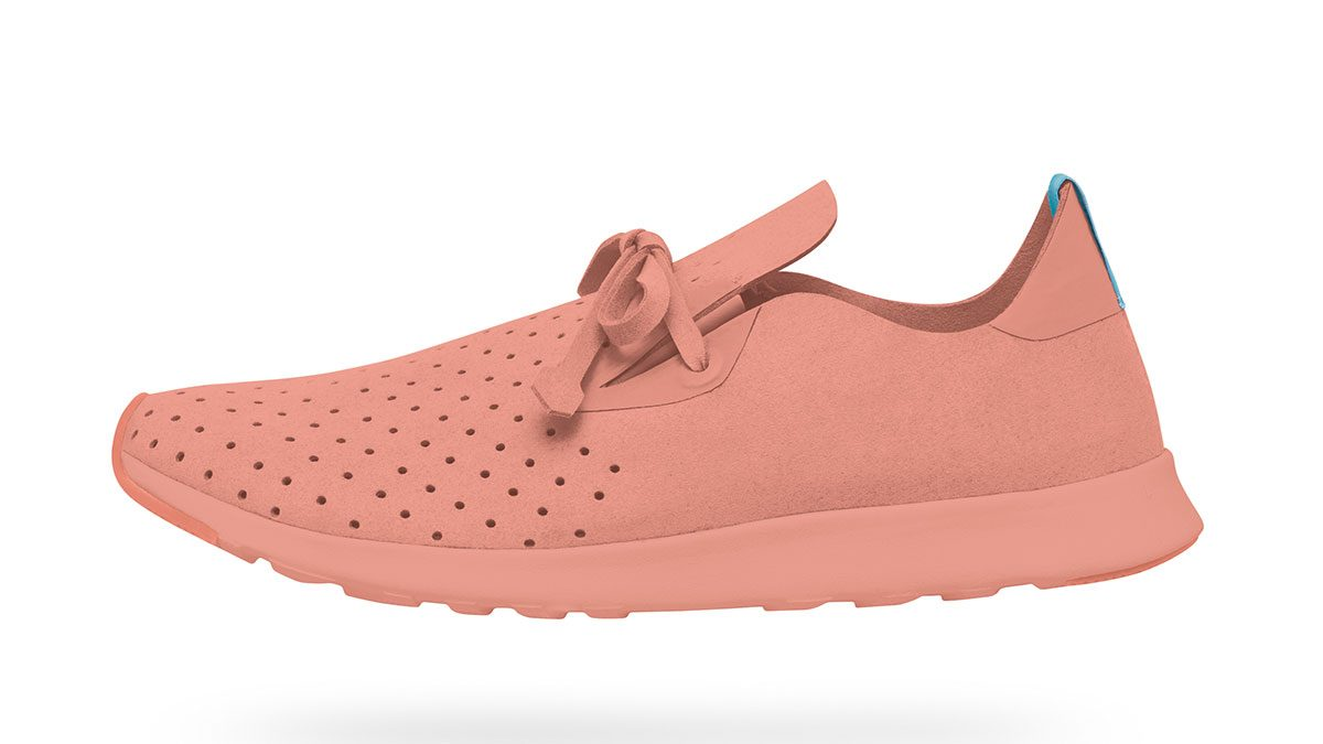 summer layering running shoes, a pink running show with white sole and perforated vamp