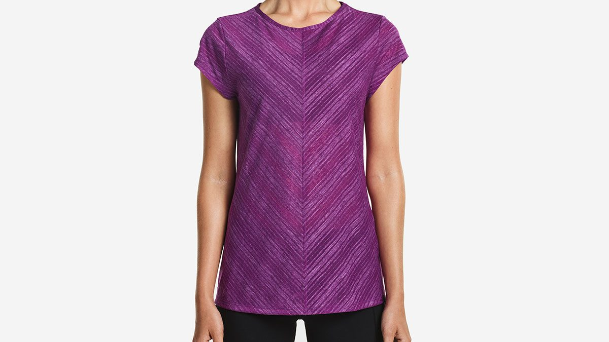 cycling at night, purple tee by Saucony