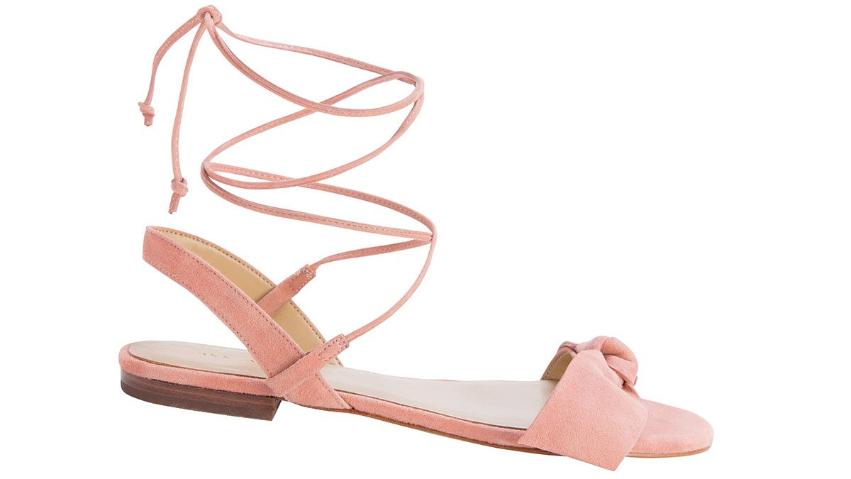 how to wear millennial pink, ann taylor tie-up sandal