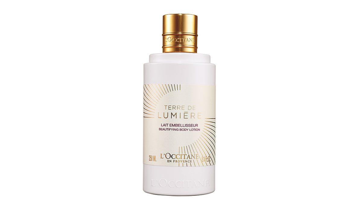 skin saver, bottle of L'occitane Lait Terre de Lumiere body lotion