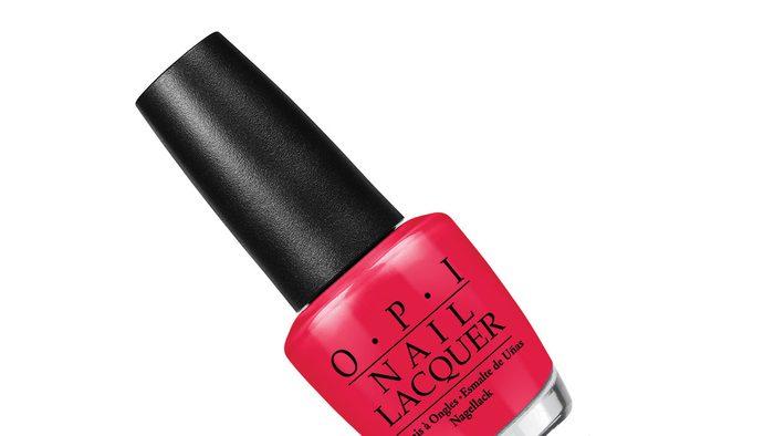 summer pedi colour, a pinky red polish