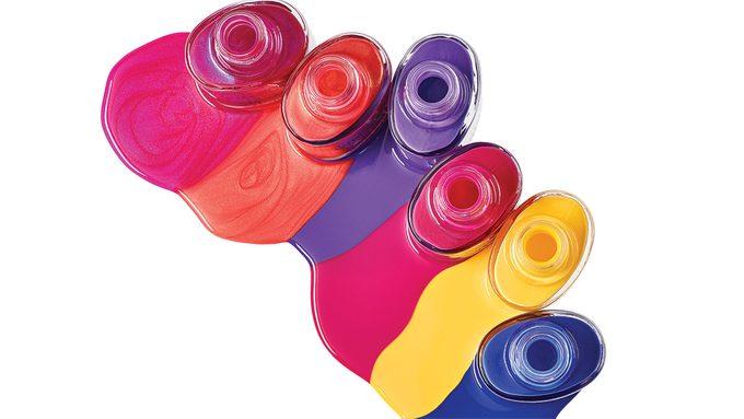 best summer pedi, bottles of spilled nail polish