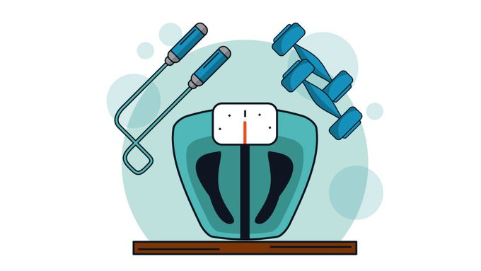 can you be fit and fat, a scale with a set of dumbbells and a jump rope