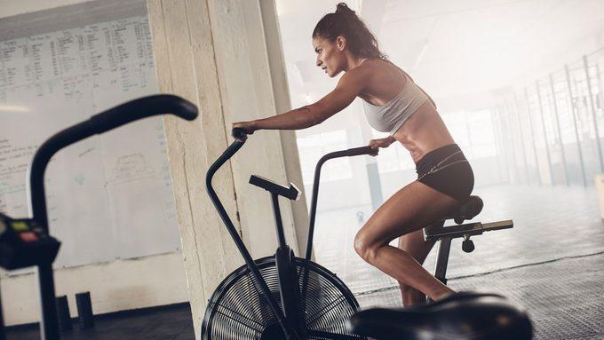 cycling training on a stationary bike