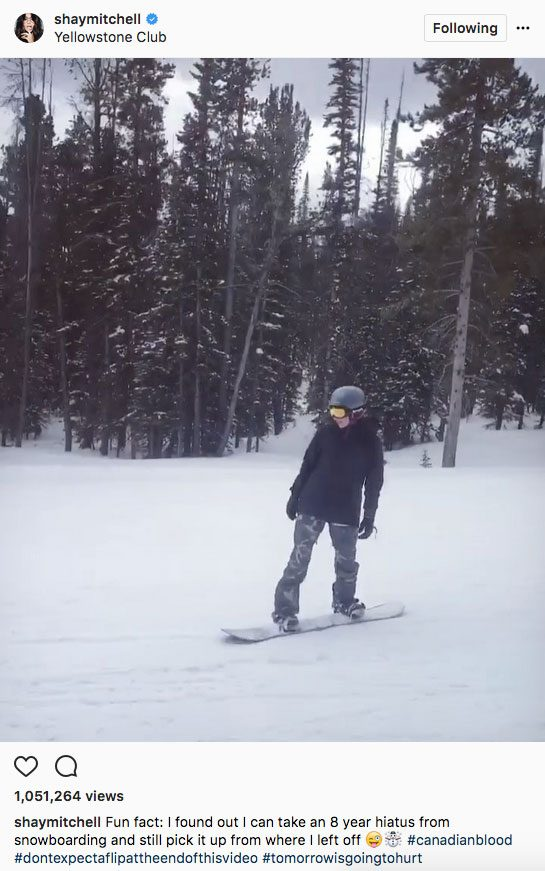 Shay Mitchell stay fit instagram, Shay Mitchell snowboarding
