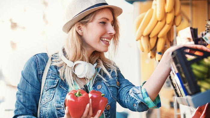 wellness getaways meal prep, a woman shopping at the market on a Sunday