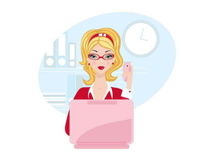 buying contact lenses online, illustration of a woman buying contact lenses online