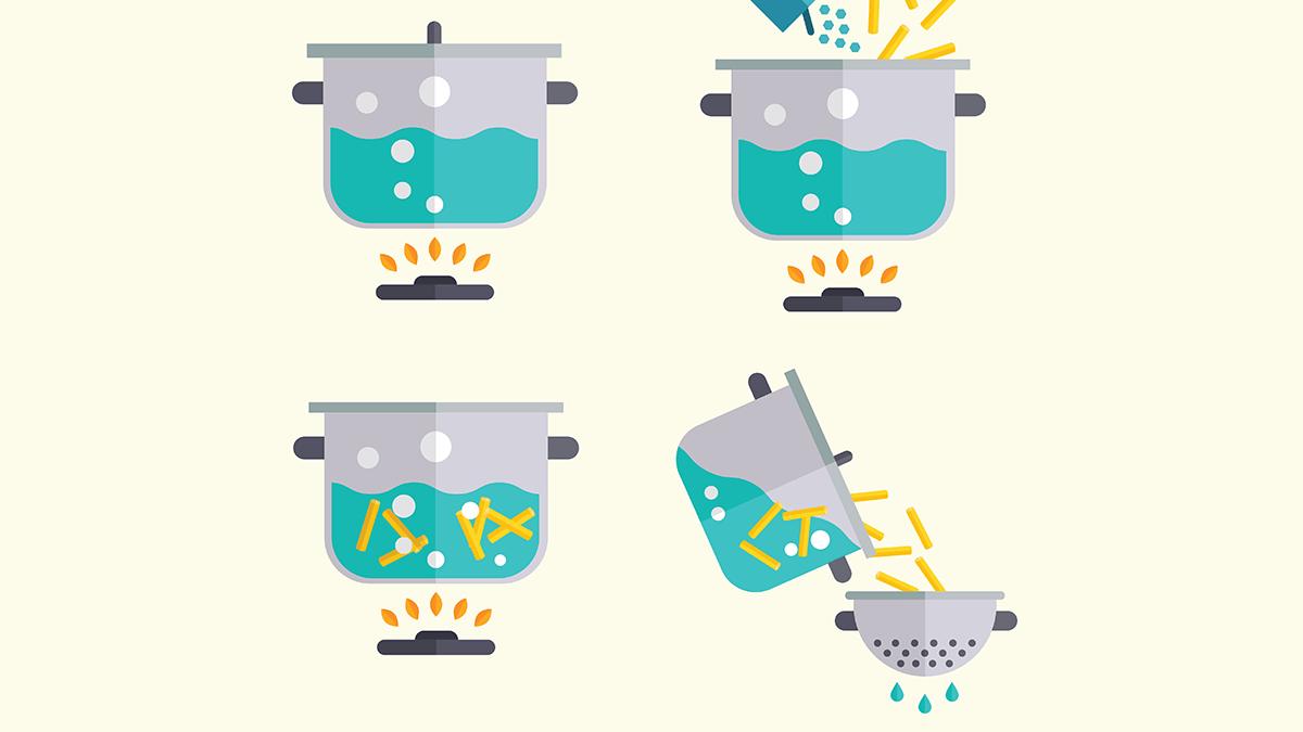 improve diabetes, pasta hack, illustration of cooking pasta