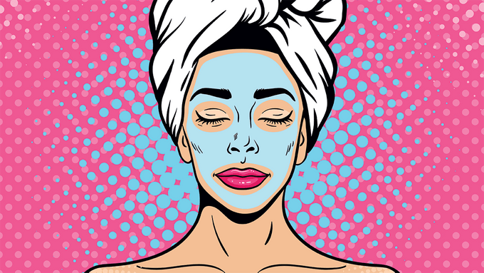 wrinkles and acne advice, an illustration of a woman having a face mask