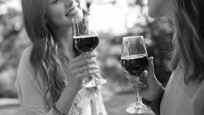 Cut back on sugar, two young women drinking wine