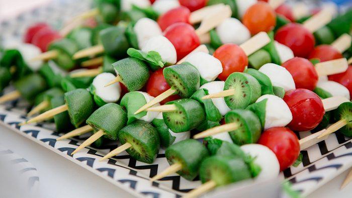 Nergi fruit skewers on a platter