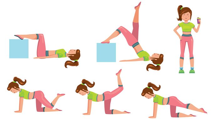 exercising with diabetes, woman illustrated with exercises