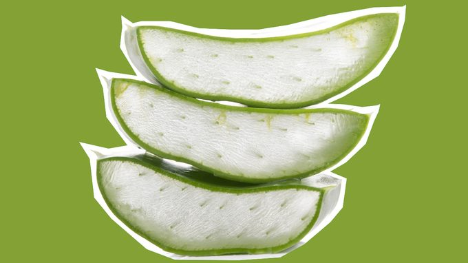 health benefits of aloe, aloe cut into pieces to show the jelly centre