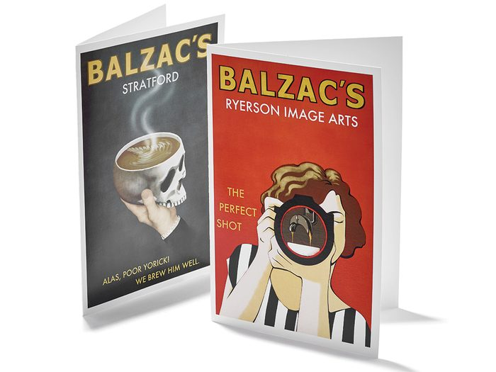 Balzac's Coffee poster and cards