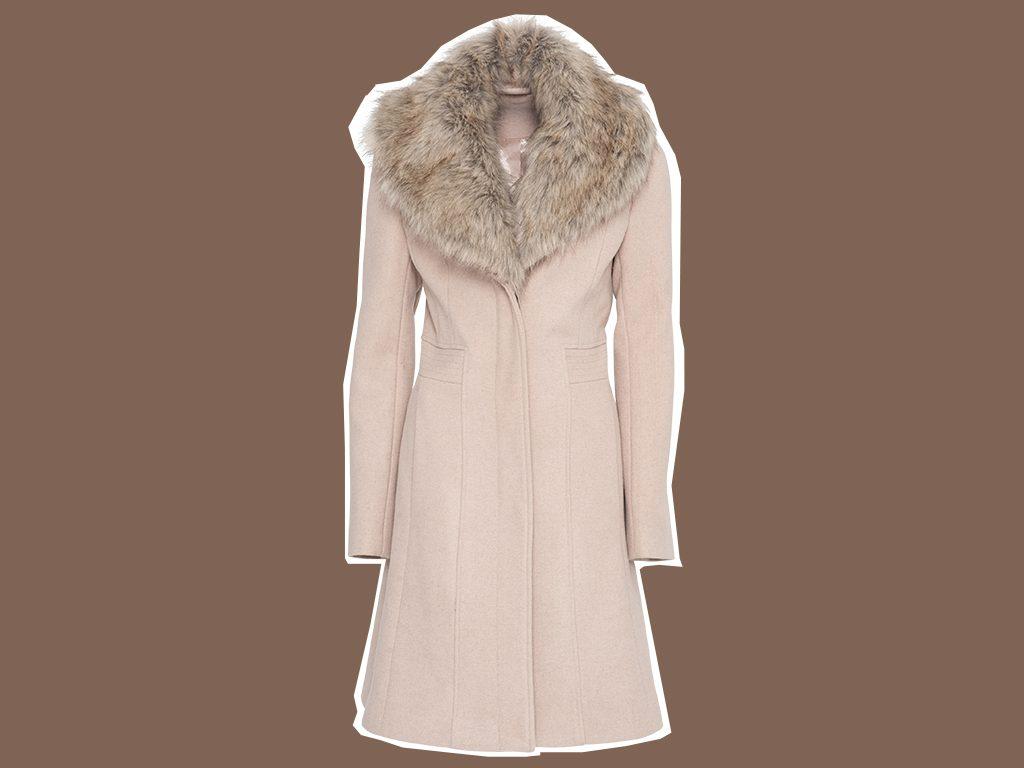 faux fur coat Le Chateau Wool-blend Coat With Faux Fur Collar