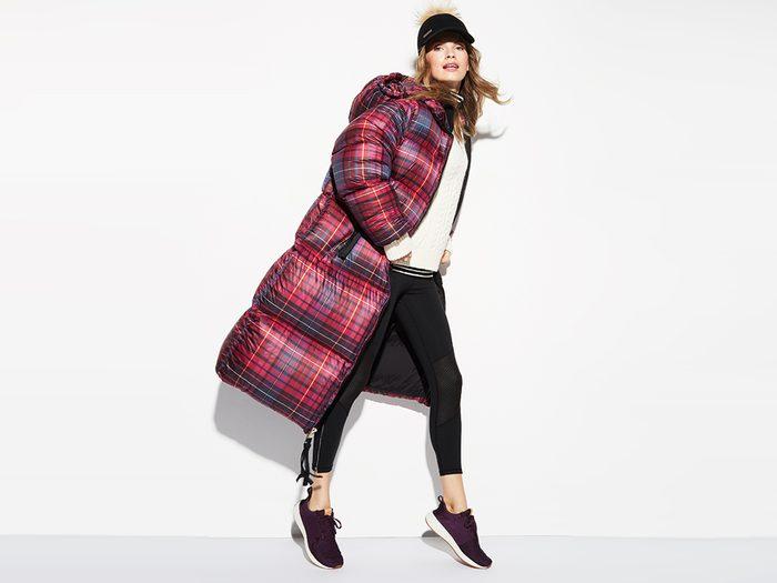 flattering puffer coats, Tommy Hilfiger plaid coat