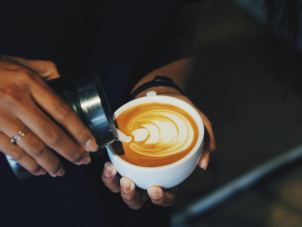 healthier coffee warm milk, grass fed milk
