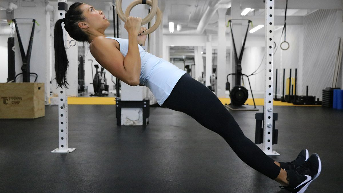 abs workout program, ring inverted rows