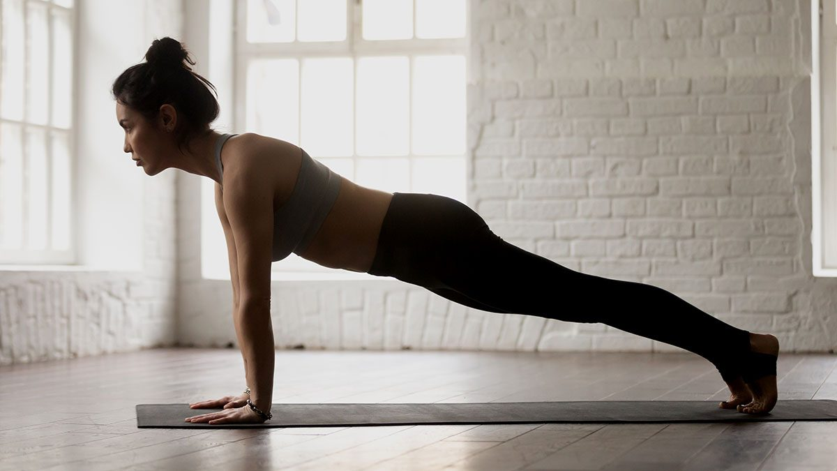 Plank, woman doing a plank