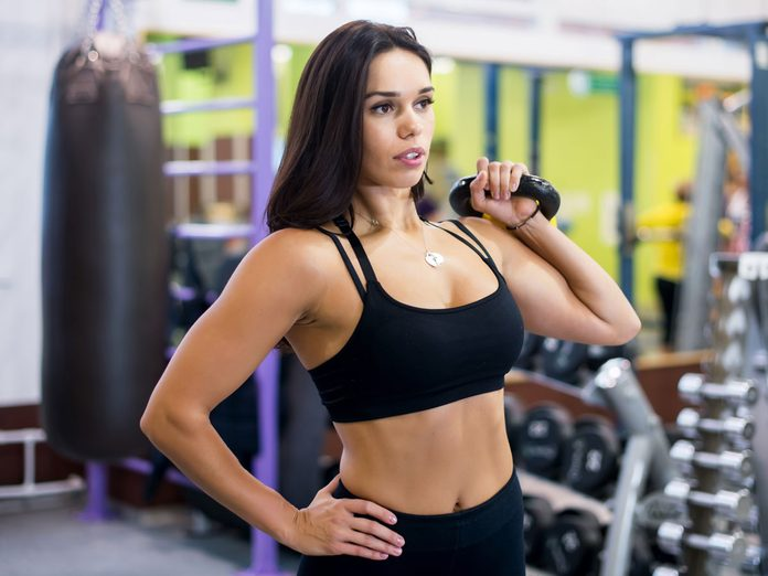 best arm exercises for women kettlebell press for shoulders