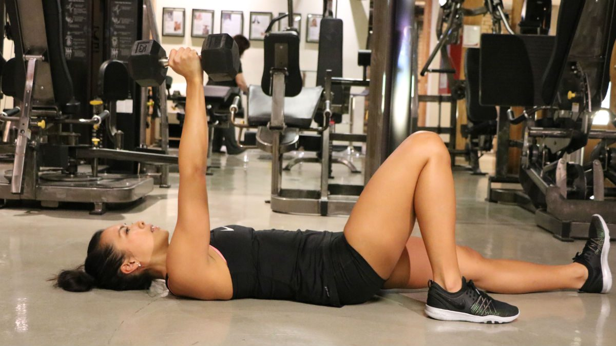 weights for women Single Arm Dumbbell Floor Press