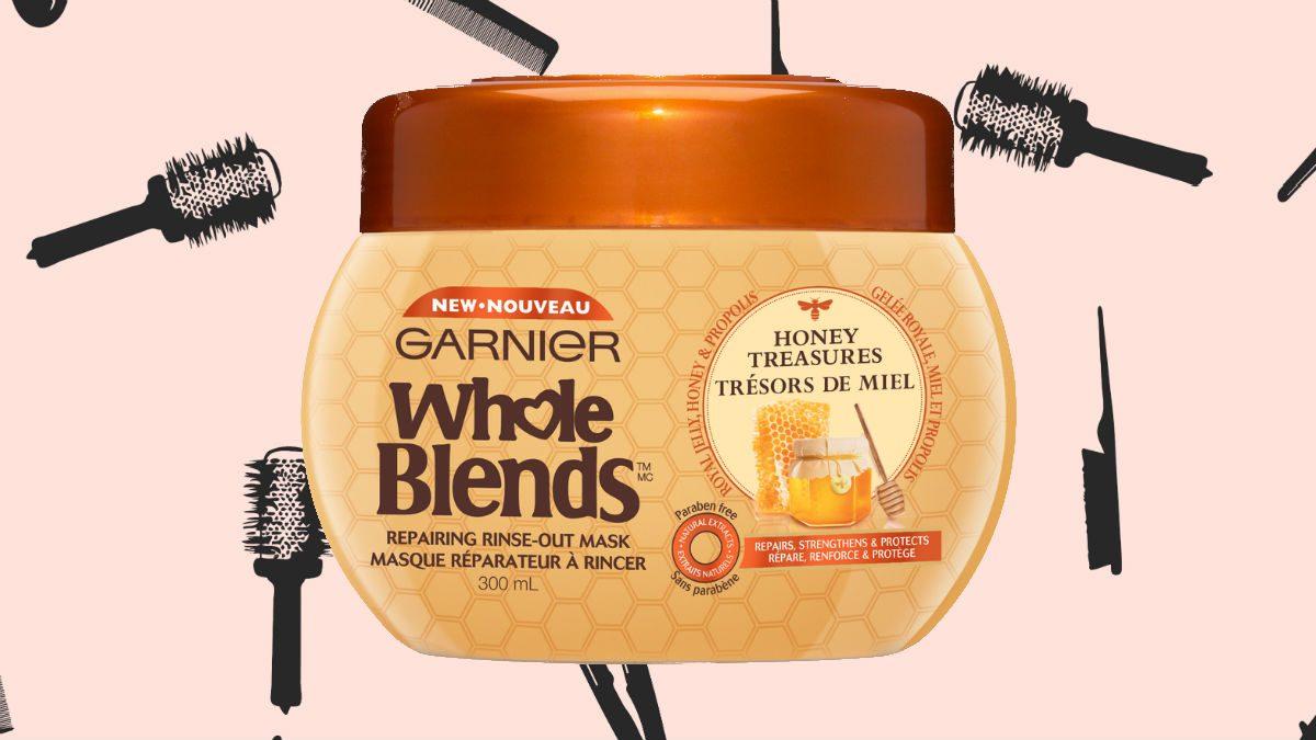 winter hair masks Garnier Whole Blends Honey Treasure Repairing Mask