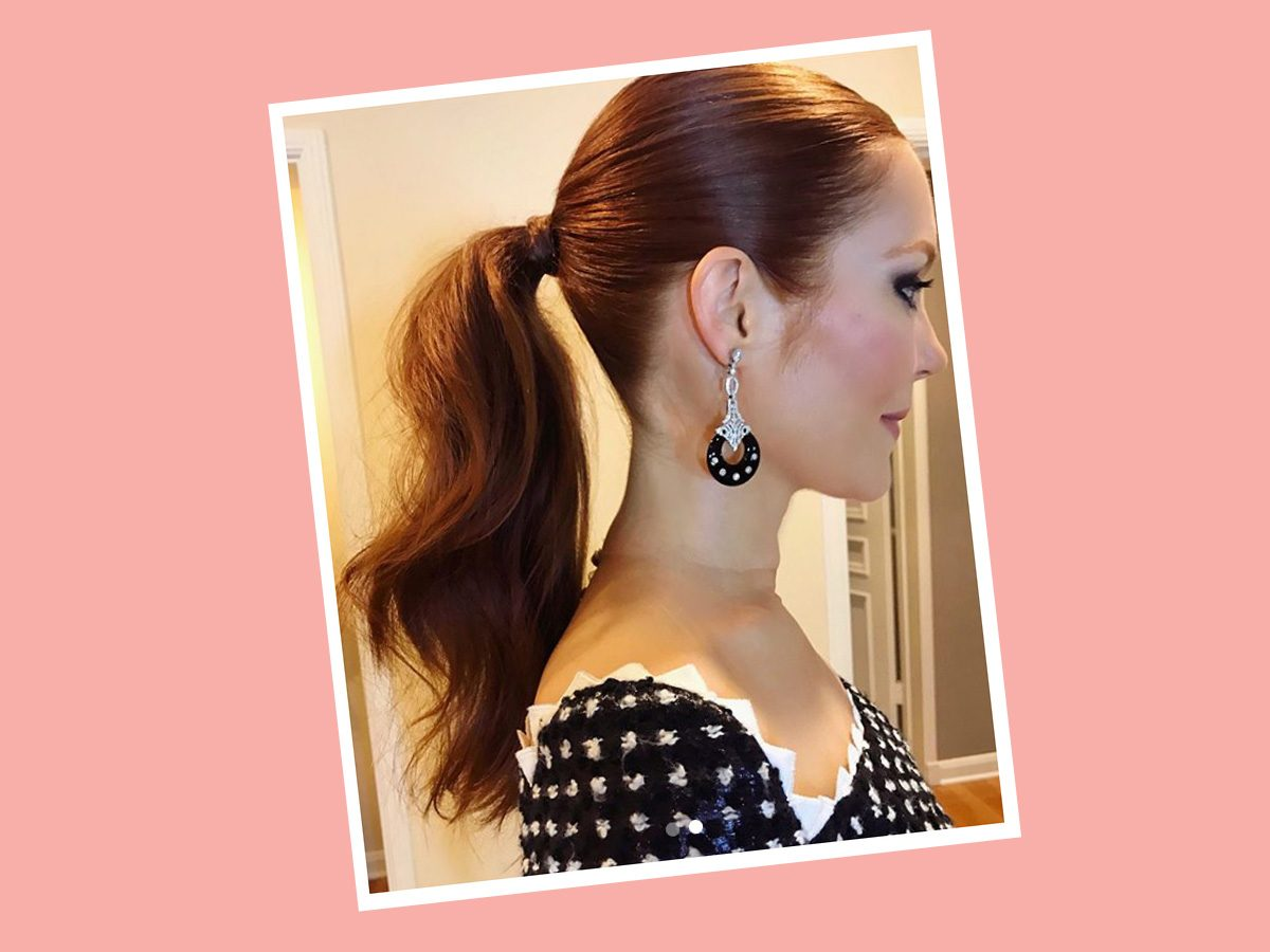Darby Stanchfield of Scandal in a middle ponytail