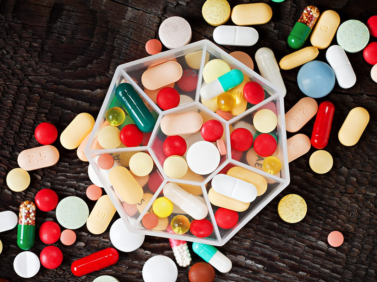 High cholesterol, a pile of colourful pills