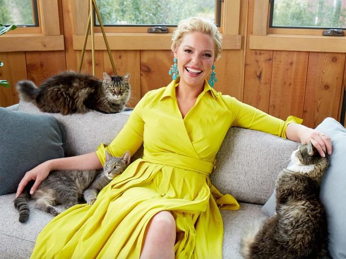 Katherine Heigl with her cats