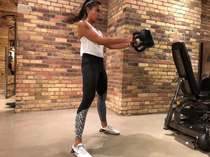 Kettebell workout, dual kettlebell cleans
