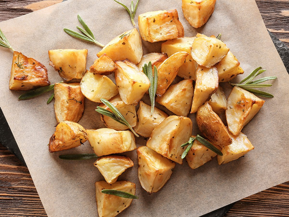 Weight loss myths, cut-up baked potatoes with rosemary
