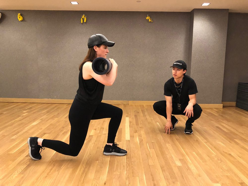 abs strength workout walking lunges