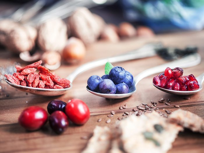 Health trends, superfood berries on spoons