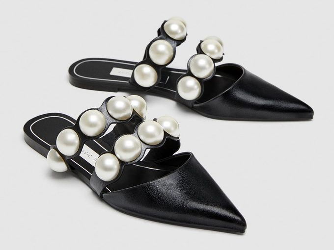 Spring shoes, Zara flat mules with pearl beads