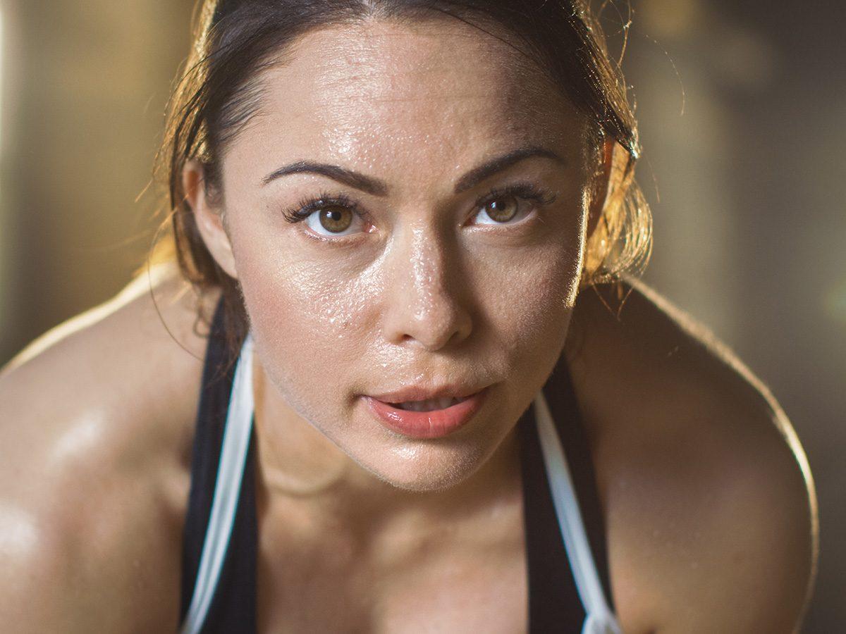 Eczema, woman sweating