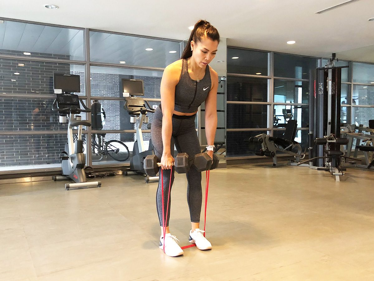 Resistance band workout, Dumbbell Romanian deadlifts