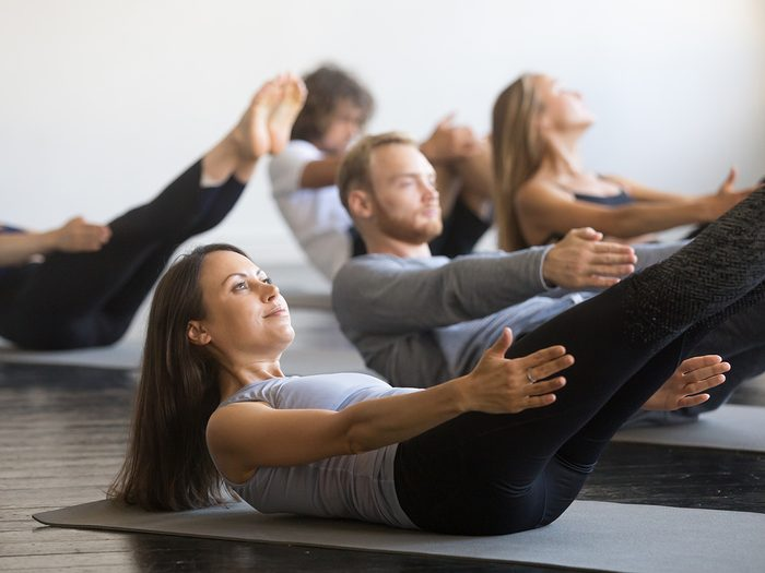 Shortness of breath, group of people take a Pilates class
