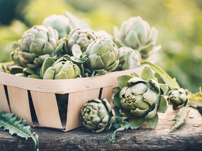 Superfoods, basket of artichokes