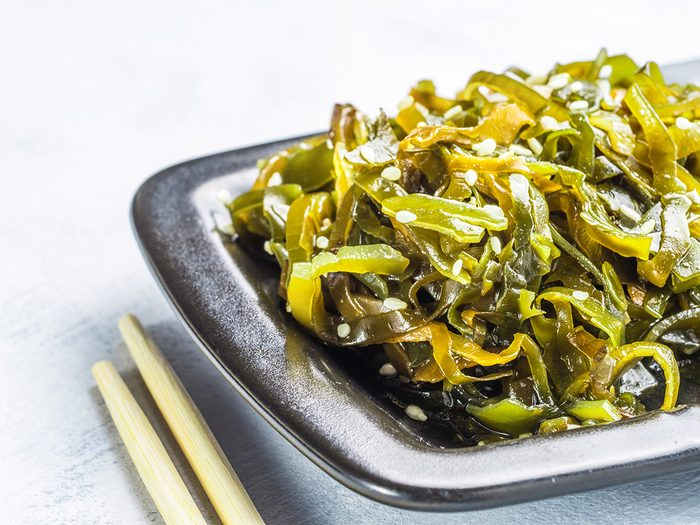 Superfoods, plate of kelp with chopsticks
