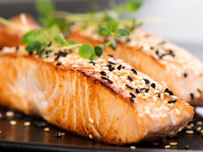 Superfoods, cooked spiced salmon on a plate