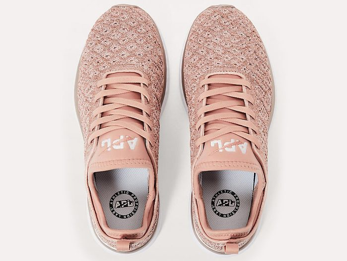 Workout gear, pink Lululemon running shoes