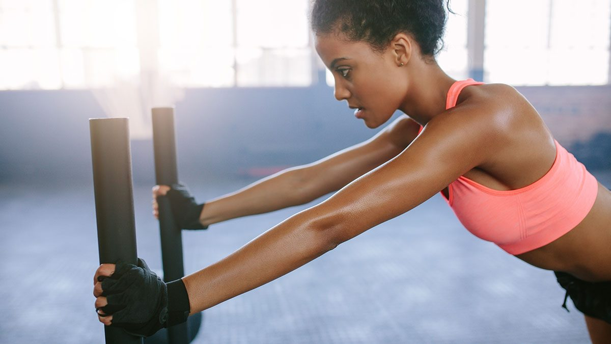 Arms Workout, woman in gym