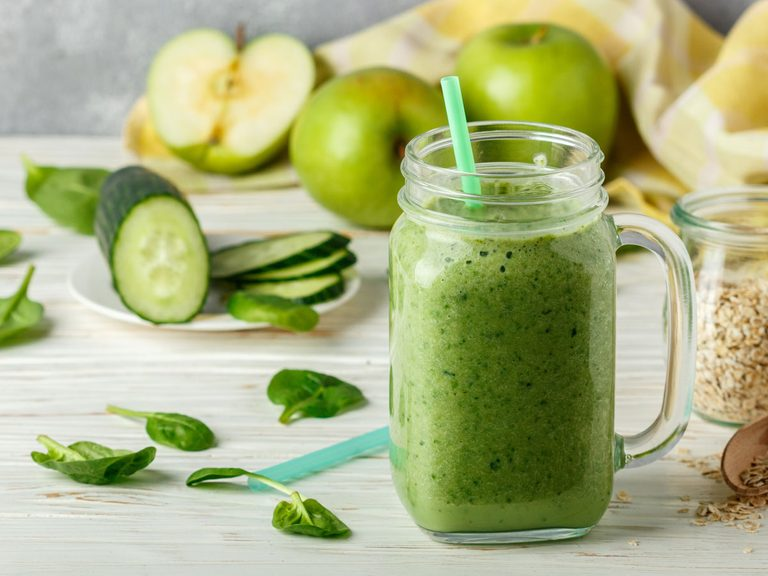 Apple Cucumber Low-Calorie smoothie with basil