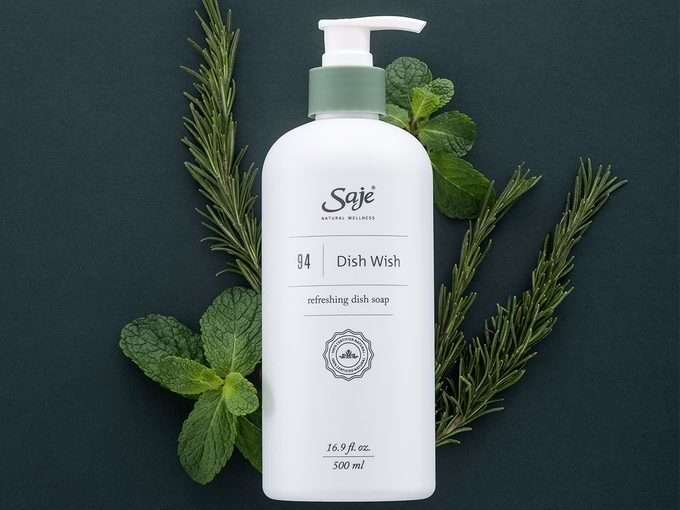 Earth Day Tips, a bottle of Saje Wellness Dish Wish soap